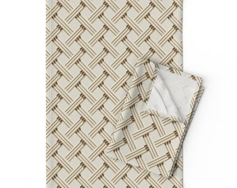Lattice Placemats Set of 2 Criss Cross  Bamboo Trellis Cloth Placemats by Spoonflower - Rattan Trellis In Natural/_ivory by incognitoshop