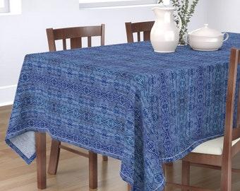 Indigo Diamonds Tablecloth Small Shibori Cotton Sateen Tablecloth by Spoonflower Small Shibori Diamonds by jewels/_at/_home