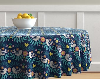 Scandi Folk Placemats Set of 4 - Folky Pattern Blue by lydia/_meiying Birds And Floral Feminine Flowers Cloth Placemats by Spoonflower