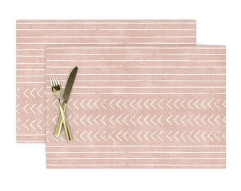 Pink Mudcloth Cloth Placemats by Spoonflower Blush Boho Diamonds Placemats Set of 4 - Mudcloth On Pink by littlearrowdesign