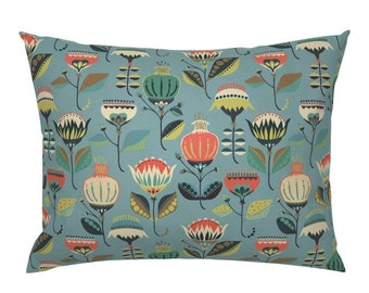Mid Century Mod Pillow Sham Fanciful Fifties Flowers by ottomanbrim 1950s Floral Cotton Sateen Pillow Sham Bedding by Spoonflower