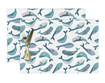 Ocean Animals Cloth Placemats by Spoonflower Set of 4 - Sealife  by melissahyattfabrics Nautical Placemats
