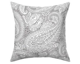Black  Cream 18x18 Square Throw Pillow by Spoonflower Black /& Cream Teardrop Paisley by danika/_herrick Black And White Throw Pillow