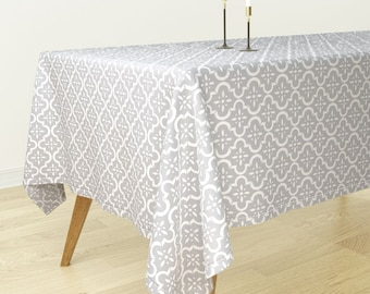 Rectangular Tablecloth   Light Gray Ikat Moroccan Flower By Sugarfresh    Blue Bantam Cotton Sateen Tablecloth Spoonflower Fabric