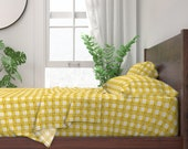 Plaid Sheets - Seville Gingham Yellow by holli_zollinger - Modern Check Yellow White Cotton Sateen Sheet Set Bedding by Spoonflower