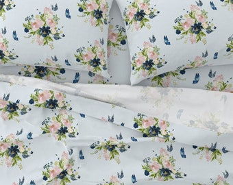 Pink Rose Flowers by ledelena Romantic Rose Cotton Sateen Sheet Set Bedding by Spoonflower Maximalist Floral Sheets
