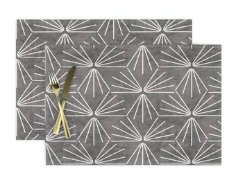 Geometric Placemats - Sun Tile Cement Light by holli/_zollinger Set of 2 Linen Texture  Modern Home Decor Cloth Placemats by Spoonflower