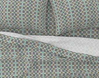 - Danish Modern Jade by joanmclemore Circles Jade Aqua Danish Modern 1960 Cloth Placemats by Spoonflower Geometric Placemats Set of 4