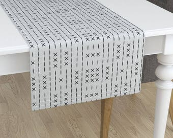 Mud Cloth Table Runner   Cross Line Mud Cloth Bone By Holli_Zollinger    African Minorca Cotton Sateen Table Runner By Roostery Spoonflower