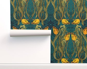 Tulips Custom Printed Removable Self Adhesive Wallpaper Roll by Spoonflower Astrid Iveta Abolina By Onesweetorange Tulips Wallpaper