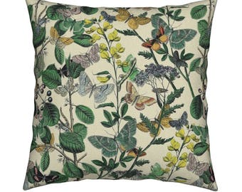 2e033034e17 Vintage Throw Pillow - Springtime In The Butterflies  Garden by  Peacoquettedesigns - Catalan Throw Pillow by Roostery with Spoonflower