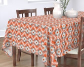 Orange Tablecloth - Native_summer Rotated by holli_zollinger - Geometric Geo Triangle Native Kilim Cotton Sateen Tablecloth by Spoonflower