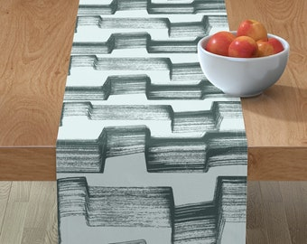 - Dry-brush-zag-slate by wren/_leyland Abstract Placemats Zigzag Cloth Placemats by Spoonflower Set of 4