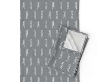 Clothespins Sheets Clothespin On Slate Grey by Novelty Cotton Sateen Sheet Set Bedding by Spoonflower