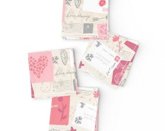Set of 2 Sarah Treu  Eiffel Tower Valentines Cloth Napkins by Spoonflower Valentines by sarah/_treu Paris Dinner Napkins - Love Letters