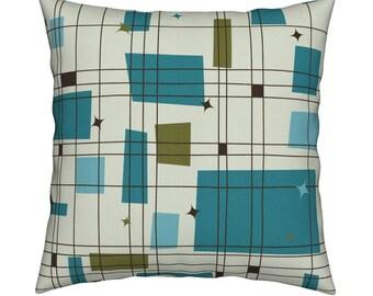 Mid Century Modern Throw Pillow Birdland Geometric By Etsy
