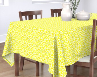 Scandinavian Style Cotton Sateen Tablecloth by Spoonflower Marine Nautical Tablecloth Pastel Lemon Stripe by studio/_textura