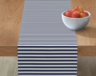 Set of 4 Nautical Cocktail Napkins Blue And White  Stripes Cloth Napkins by Spoonflower - Summer Seahorse Stripe by booboo/_collective