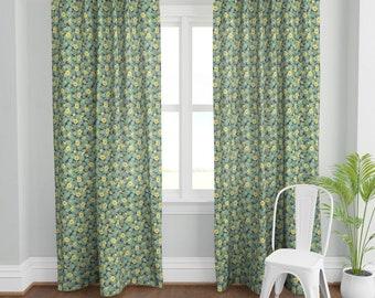 Bird Floral Garden  Gardenia Green Orange Blue Yellow Two 96 x 50  Custom OutdoorIndoor Curtain Panels