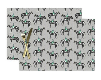 - Silvo by ragan Horse Pony Hound Dressage Cloth Placemats by Spoonflower Equestrian Placemats Set of 4