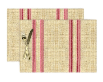 Pin Stripe Cloth Placemats by Spoonflower Jewel Placemats Set of 4 - Mini Stripe Horizontal  by peacoquettedesigns