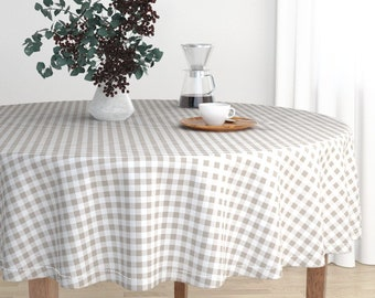 Round Tablecloth   Gingham In Belgian Linen By Lilyoake   Checked Picnic  Malay Cotton Sateen Round Tablecloth By Roostery Spoonflower Fabric