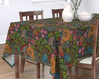 Mushrooms Tablecloth Botanical Cotton Sateen Tablecloth by Spoonflower Delicious Autumn Botanical Poison by selmacardoso