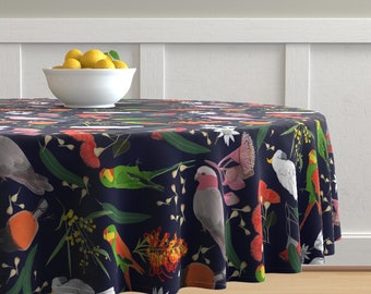 Cranes Chinoiserie  by robynhammonddesign Birds Round Tablecloth Decorative Cranes Cotton Sateen Circle Tablecloth by Spoonflower