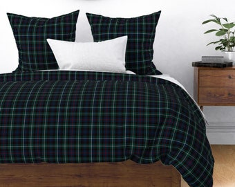 Plaid Pillow Sham Green Geo Lines Check Tartan  Cotton Sateen Pillow Sham Bedding by Spoonflower Gray Hunting Tartan by weavingmajor