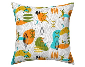 Midcentury Mod  Woven Look Mod Ogee  Rectangle Lumbar Throw Pillow by Spoonflower Marigold Orbs by ottomanbrim Retro 1950s Accent Pillow