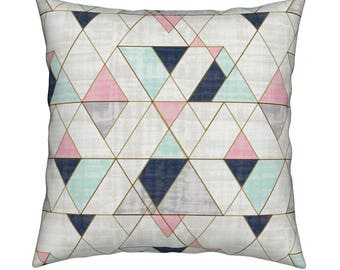 b81527b859b Geometric Throw Pillow - Mod Triangles Navy Mint Pink By Crystal Walen -  Geometric Square Catalan Throw Pillow by Roostery with Spoonflower