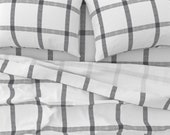 Plaid Sheets - Gray White Linen Check Buffalo Plaid by mlags - Tartan Grid Check Lines Cotton Sateen Sheet Set Bedding by Spoonflower