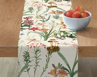 Rustic Pomegranate by maritcooper Floral Table Runner Fruit  Repeat Pattern Renaissance Cotton Sateen Table Runner by Spoonflower