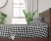 Plaid Sheets - Gingham Black And White And Grey by peacoquettedesigns - Gingham Nursery Cotton Sateen Sheet Set Bedding by Spoonflower