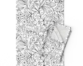Nature  Botanical Cotton Sateen Table Runner by Spoonflower Floral Table Runner Enchanted Garden Coloring Book Floral  by heatherdutton