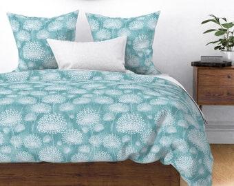 Vintage Dandelions Pastel Blue by chicca/_besso Floral Cotton Sateen Pillow Sham Bedding by Spoonflower Dandelions Pillow Sham
