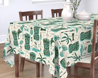Retro Tropical Table Runner Mid Century Hawaii  Hawaiian  Cotton Sateen Table Runner by Spoonflower Tiki Stripe Coconut by thecalvarium