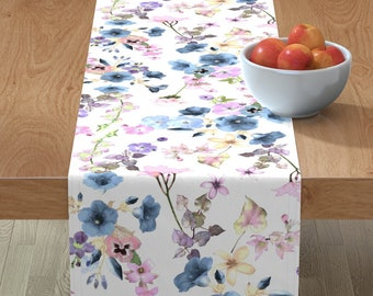 Flowers  Floral Home Decor Cotton Sateen Table Runner by Spoonflower Blue Table Runner Allamandas In The Garden Blue by elizabeth/_chia