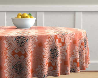 Set of 2 - Damask Effect In Oranges by susaninparis Damask  Matisse Like Orange Lines Cloth Placemats by Spoonflower Abstract Placemats
