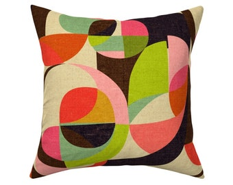 Mod Leaves-orange And Teal by wren/_leyland Minimalist  Geometric  18x18 Square Throw Pillow by Spoonflower Autumn Leaves Throw Pillow