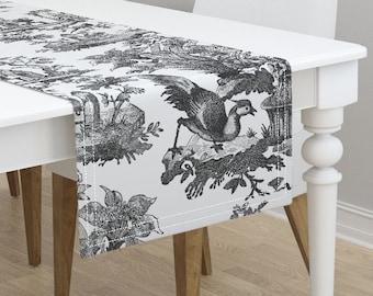 Peacock Toile De Jouy Sateen Purple by teja/_jamilla Bird Table Runner Animal Toile  Woodland Cotton Sateen Table Runner by Spoonflower