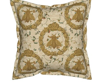1698c5e03da Floral Throw Pillow - Napoleonic Bees Queen Bee by peacoquettedesigns -  Vintage Flanged Square Throw Pillow by Spoonflower. Roostery