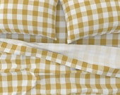 Plaid Sheets - Buffalo Check Cornflower Yellow by willowlanetextiles - Rustic Yellow White Cotton Sateen Sheet Set Bedding by Spoonflower
