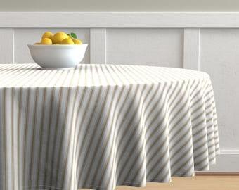 Grey Ticking On Cream Offwhite Gray Stripes by jenlats Gray Stripe  Cotton Sateen Table Runner by Spoonflower Feedsack Table Runner