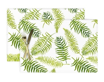 Cloth Placemats Ferns Nature Green Botanical Classic Plants Victorian Set of 2