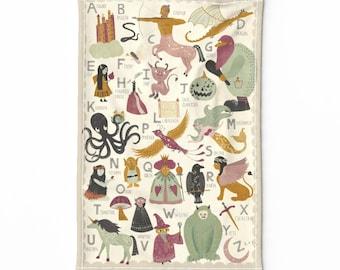 Alphabet Tea Towel Abc Kitchen Tea Towel by cjldesigns Tea Towel  Education Abc Letters Linen Cotton Canvas Tea Towel by Spoonflower
