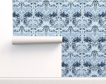 Flower Wallpaper Blue White Custom Printed Removable Self Adhesive Wallpaper Roll by Spoonflower Delft Dutch Flowers By Holli Zollinger