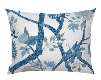 Chinoiserie Cotton Sateen Pillow Sham Bedding by Spoonflower Christmas Pillow Sham Forest Christmas Chinoiserie Navy by heatherdutton