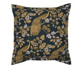Chinoiserie Throw Pillow - Peacock Garden Midnightgold by ceciliamok - Ornate Rococo Black Gold Flanged Square Throw Pillow by Spoonflower