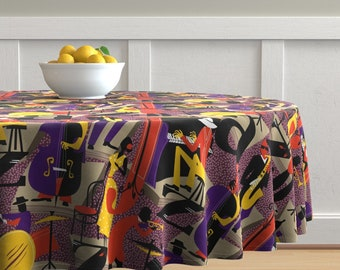Music Instruments Vintage Cotton Sateen Circle Tablecloth by Spoonflower Jazz Round Tablecloth Jazz Mood With Texture by lucybaribeau